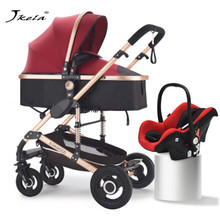 2019Multifunctional Baby Stroller 3 In 1 High Landscape Folding Carriage Gold Strollers Newborn Free Shipping and 8 Gifts
