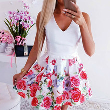 Sexy Deep V Womens Print Waist Autumn Elegant Casual Floral Dress Women Ladies Dresses