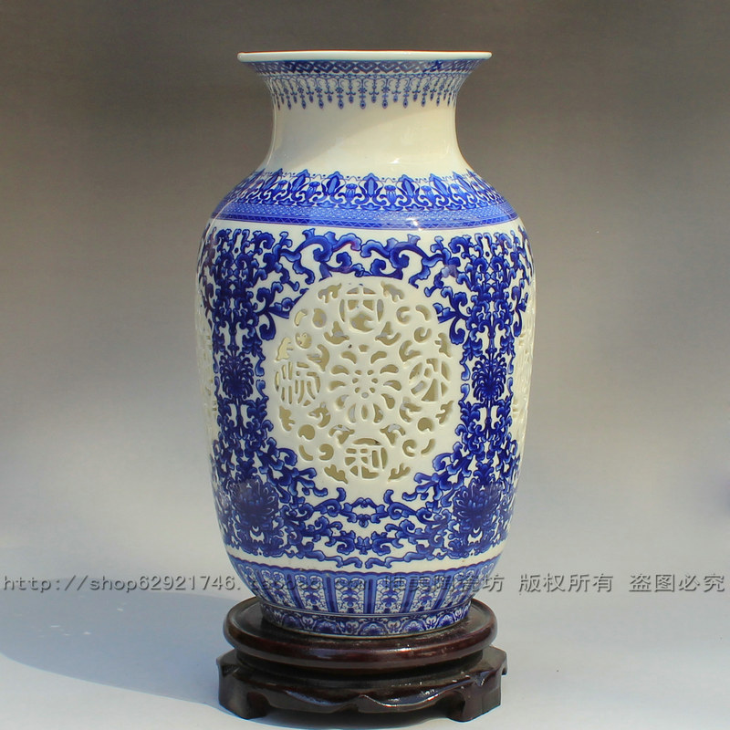 Цзиндэчжэнь керамическая ваза современная мода вырез ваза украшения дома