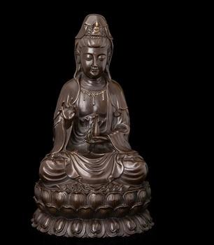 Decoración de cobre, Buda fino, bronce Retro, bronce chino, Nanhai, diosa Guanyin de la Misericordia, escultura de estatua de loto Kwan Yin Buddha