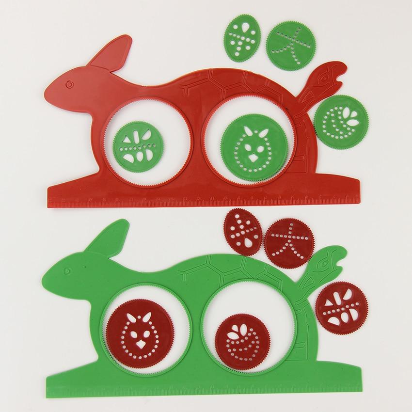 1 компл. новые Спирограф Magic кролика черепахи альбом детский подарок образовательных чертежная доска студенты линейка канцелярские принадл...