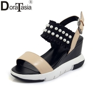 DoraTasia 2018 Summer Brand Genuine Leather Women Pearl Sandals Elegant Platform High Wedges Casual Shoes Woman