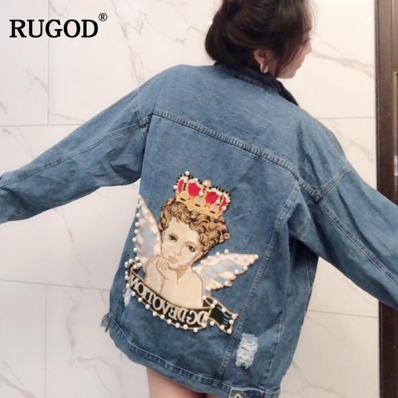RUGOD Vintage Mode Losse Jean Jassen Vrouwen Lange Mouw Knop Solid Coat Vrouwen Plus Size Angel Patroon Jas Voor Vrouwelijke tops - 3