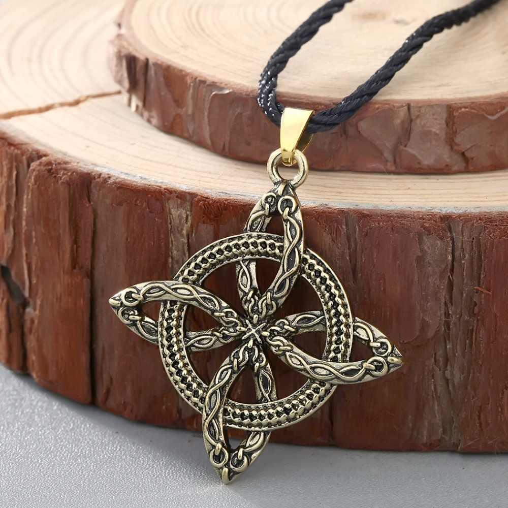 CHENGXUN mężczyźni Viking pokonywanie trawy słowiański amulet paproć wisiorek kwiat naszyjnik węzeł miłości biżuteria amulet chroń przed chorobą