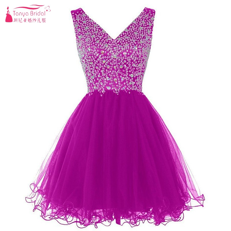 V Neck Hot Pink Heavy Crystal Beads   Cocktail     Dresses   V Neck A Line Fashion Party Gown High Quality Handmade Design   Dress   DQG089
