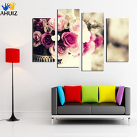 Color Gorgeous Roses Flower Paintings 4piece Canvas Art Modular Painting On Sitting Room The Bedroom Home
