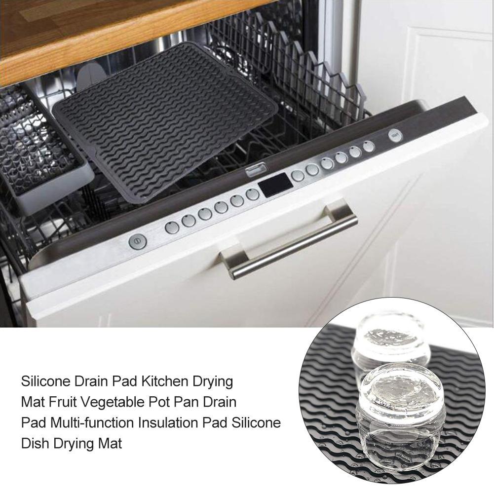 Silicone Drain Pad Kitchen Drying Mat Fruit Vegetable Pot Pan Drain Pad  Multi-function Insulation Pad Silicone Dish Drying Mat