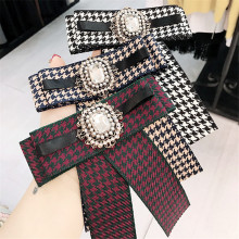 Korea Handmade Plaid Academy Fabric Rhinestone Shirt Pin Neck Bow Tie Bowknot Apparel Accessories Fashion Jewelry-YHNLB014F