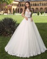 Dreagel Custom Made Elegant O-neck Ball Gown Wedding Dress 2017 Glamorous Tulle Appliques Bride Dress Vestido de Noiva Plus Size
