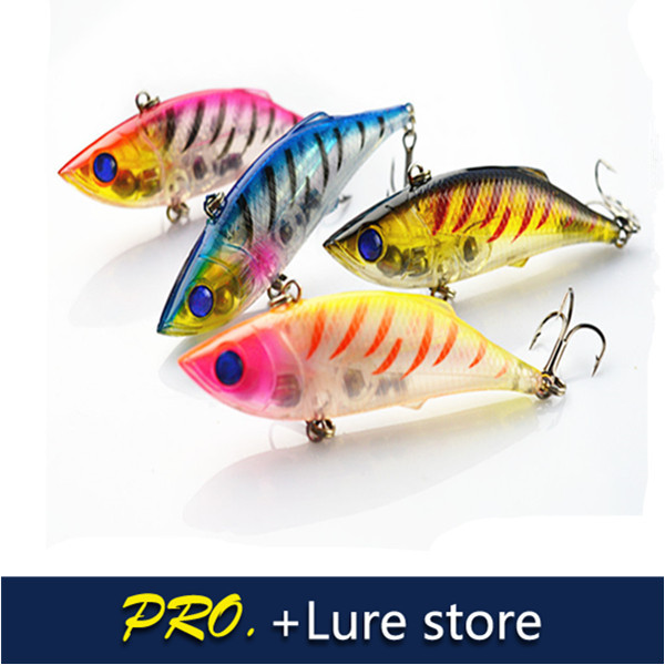 Free shipping 10 pcs 7.5cm 10g hard plastic fish baits VIBE lure crystal vivid color resin VIBE baits lure fishing lure