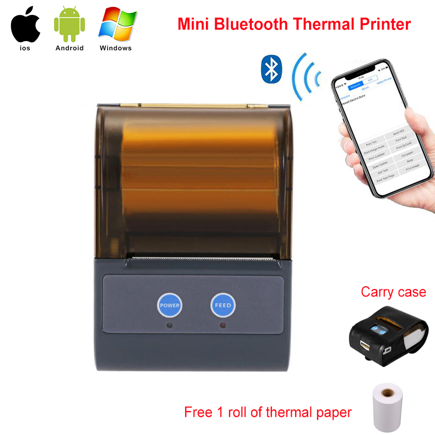 цена RUGLINE P5803 POS Bluetooth Printer Mobile Mini Portable Thermal Receipt Printer Handheld Pos Printers Bluetooth for android iOS в интернет-магазинах