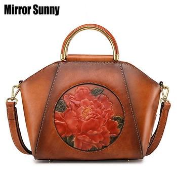 Vintage Genuine Leather Women Handbags Female Big Shell Bag Head Layer Cowhide Shoulder Crossbody Bags European & American Style