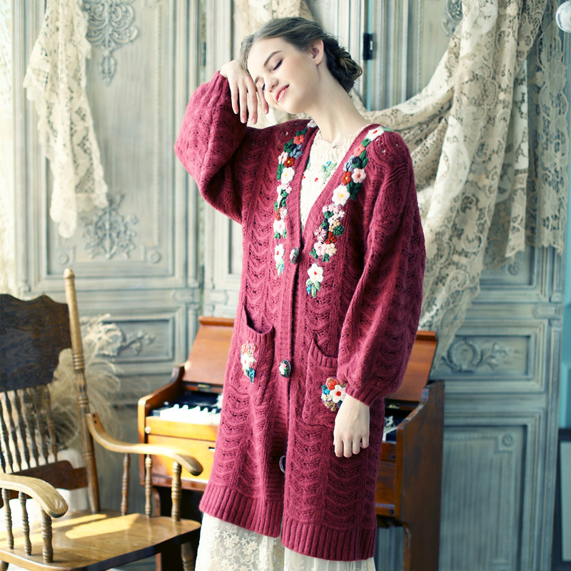 LYNETTES CHINOISERIE Spring Autumn Women Loose Oversized Vintage Mori Girls Knitted Sweater
