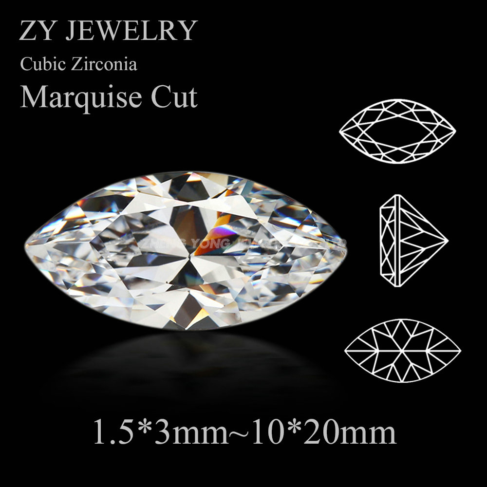 50pcs/lot 5A White Cubic Zirconia 1.5x3mm~10x20mm Marquise Shape Machine Cut Synthetic Loose CZ Stone For Jewelry