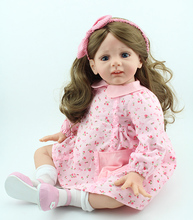 "New 24 ""60cm Cute girls dolls toys soft silicone cloth body reborn baby brown long hair pink dress brinquedos boneca"
