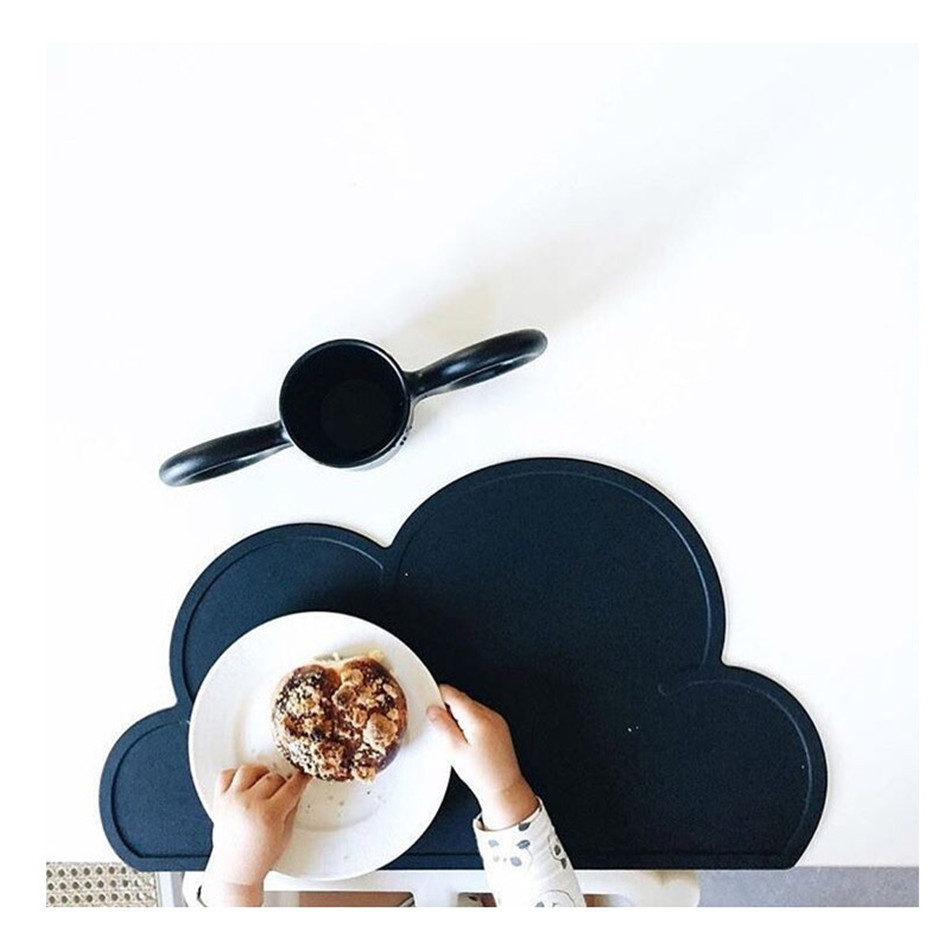 Cute Silicone Placemat FDA Bar Mat Baby Kids Cloud Shaped Plate Mat Table Mat BPA Free Waterproof Set Home Kitchen Pads 47x27cm (5)