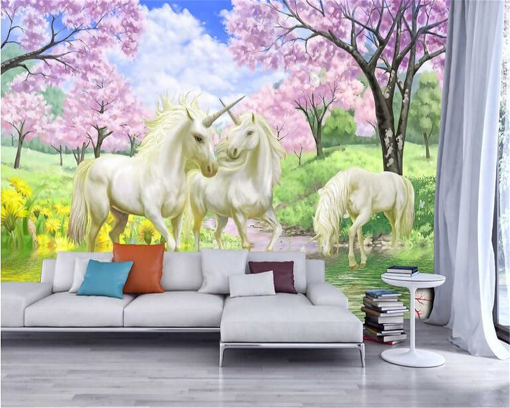 Beibehang custom wallpaper mural dream sakura unicorn for Chambre unicorn