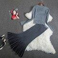ALTA CALIDAD Nuevo 2016 Winter Fashion Designer Ruffles Suit Set mujeres de Tejer Suéter Del Color Del Gradiente Falda Sirena Conjunto A476