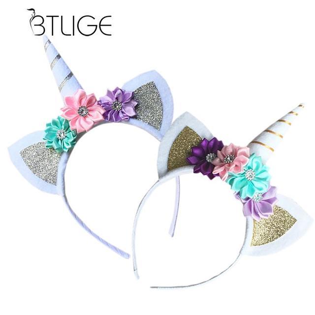 UNICORN Girl Headband Hairband para las mujeres patrón de flores ...