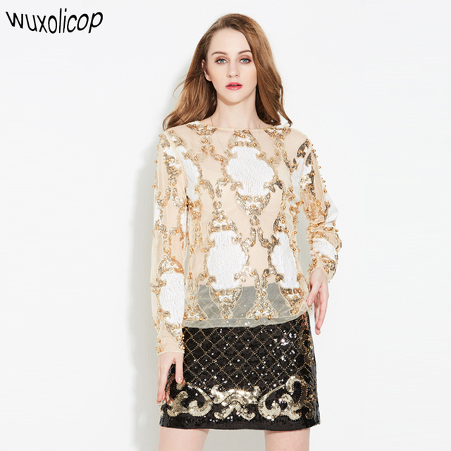 2018 Luxury Designer Women Sexy See-Through Lace Shirt Top Long Sleeve  Heavy Beaded Diamond Embroidery Sequined Blouse Mujer 8102a41cd7e8