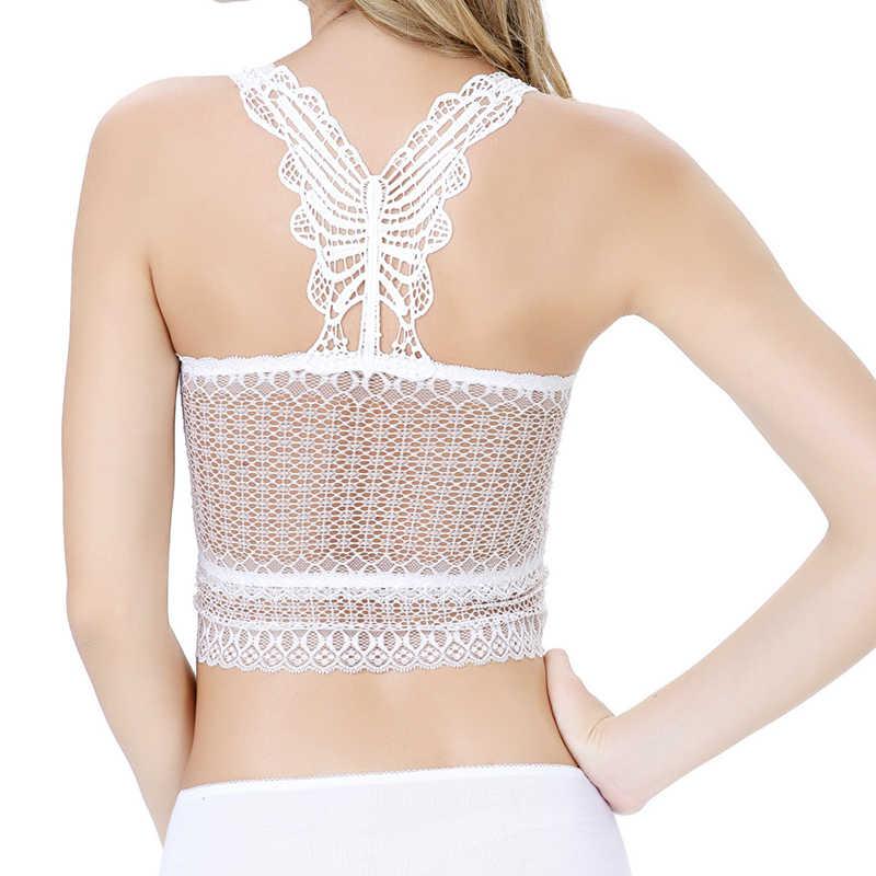 09a00e3328 ... Summer Women Tops Bralette Bralet Bra Lace Vest beach backless Halter  Crochet Unpadded Bustier Crop Top ...