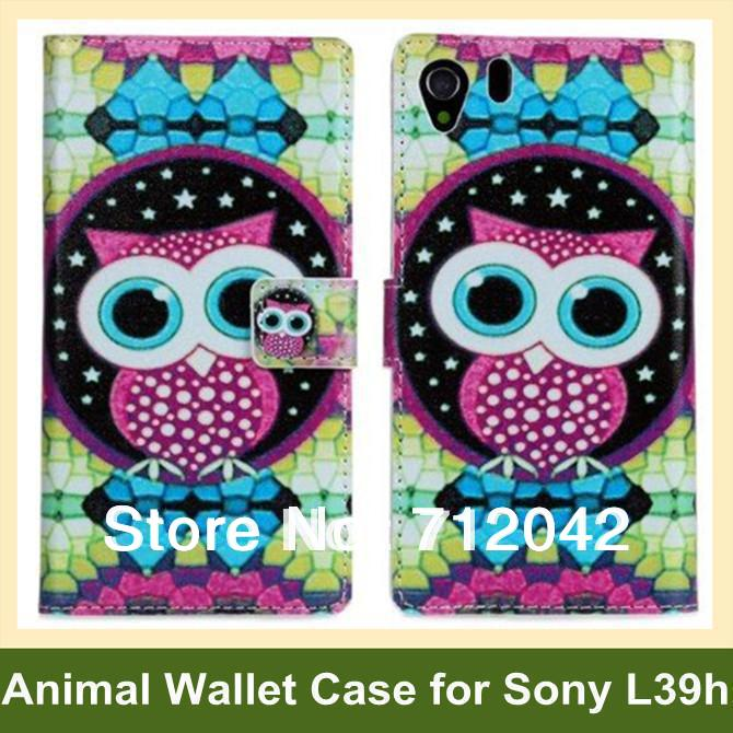 Animal Pattern Owl Giraffe Print PU Leather Wallet Flip Cover Case for Sony Xperia Z1 L39h Free Shipping