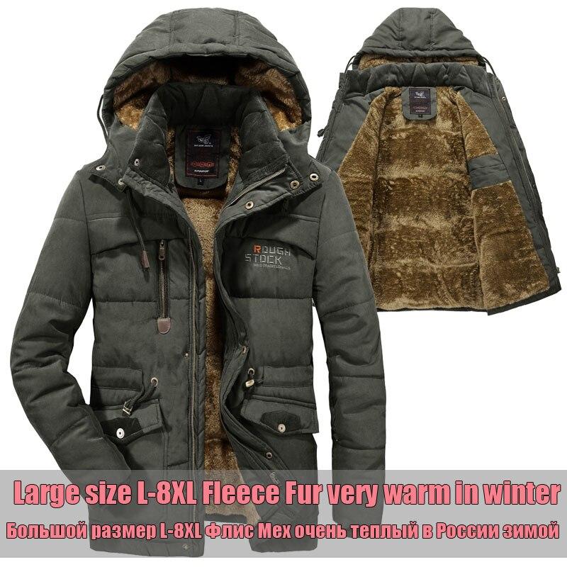 Плюс размер 6XL 7XL 8XL с карманами зимняя куртка Мужская бархатная с капюшоном среднего возраста мужская-30 градусов теплая парка пальто Военна...