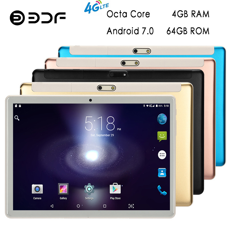 BDF Tablet 10 Inch Tablet 4GB/64GB Android 7.0 Phablet Tablet Pc Octa 8 Core 1280*800 HD Tab WiFi Bluetooth 2 SIM 4G Tablet 10.1