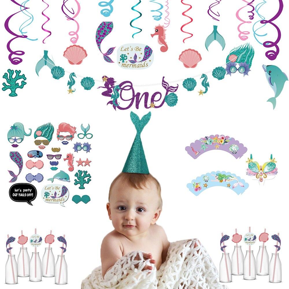 1 set petite sirène fête fournitures thème sirène décor sirène bannière banderoles pour enfants faveur joyeux anniversaire mariage fête décor