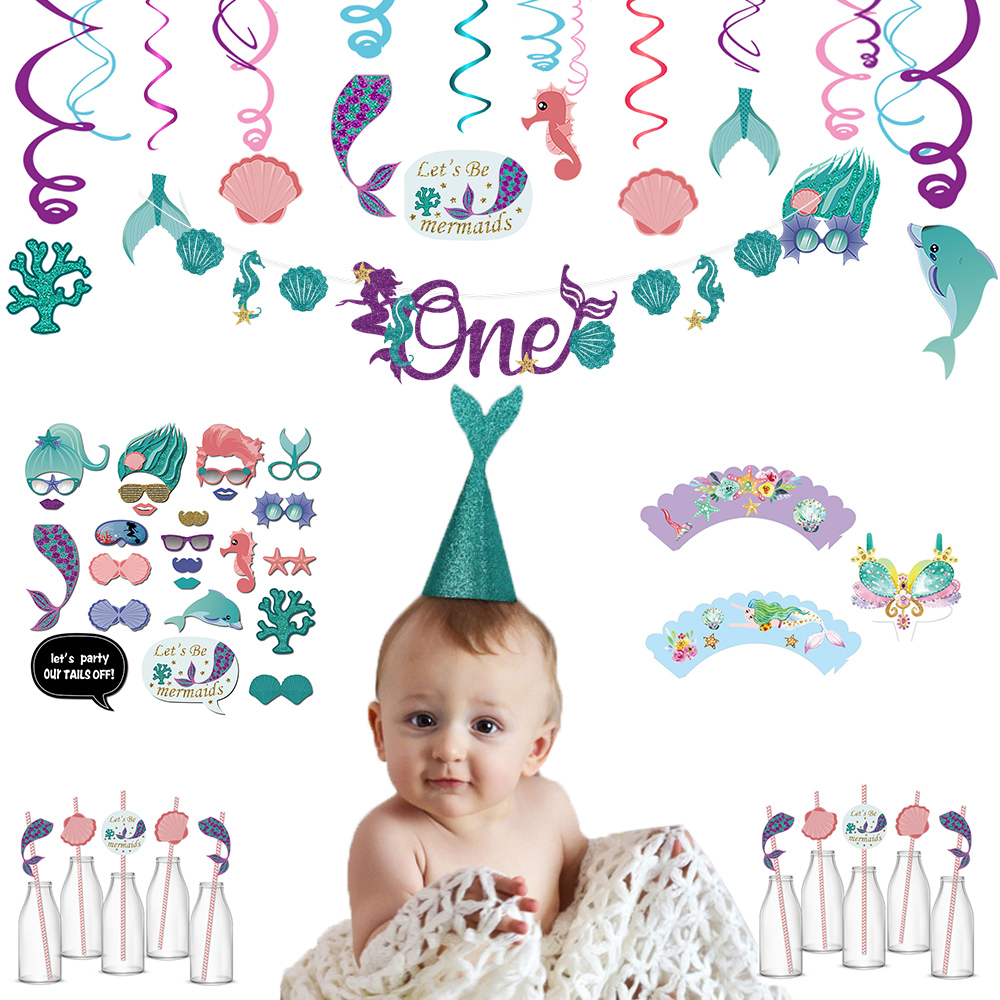 Children Birthday Party Banner Mermaid Tail Sea Shells Bunting HAPPY BIRTHDAY