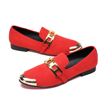 Driving Red Black Loafer Casual Shoes Wedding Dress Shoes Men Flats British Style Metal Espadrilles Customized Leather Shoes