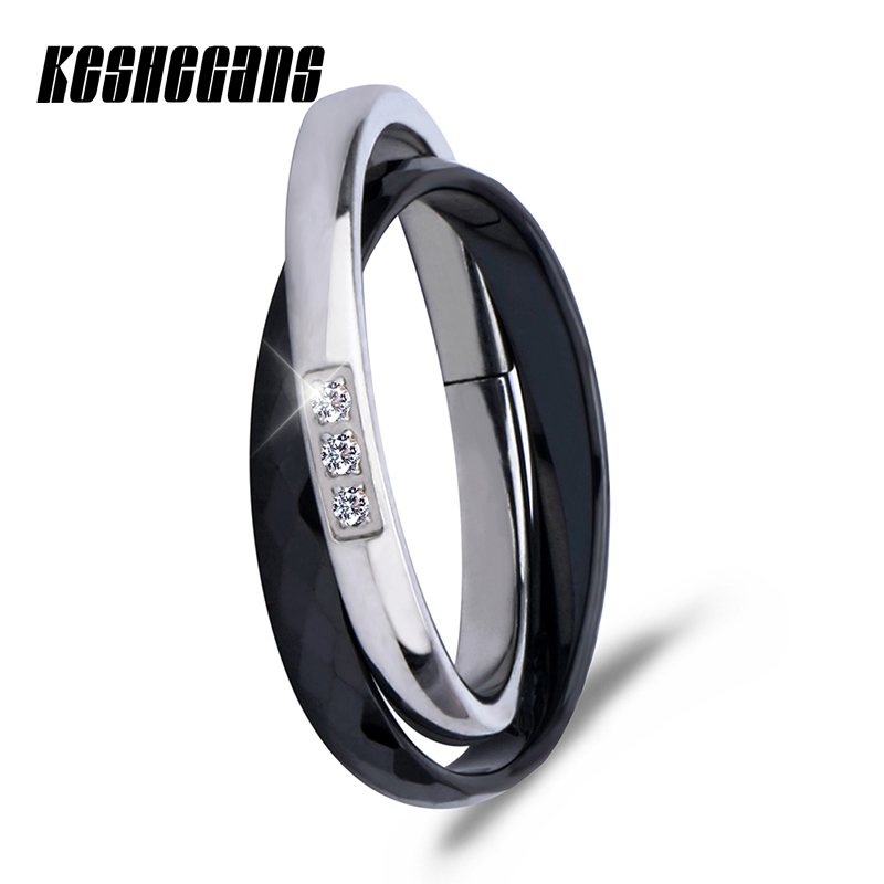 все цены на Classic Black White Double Ring Fashion Silver Ceramic Ring Shining Crystal Rhinestone For Women Girl Fashion Wedding Jewelry