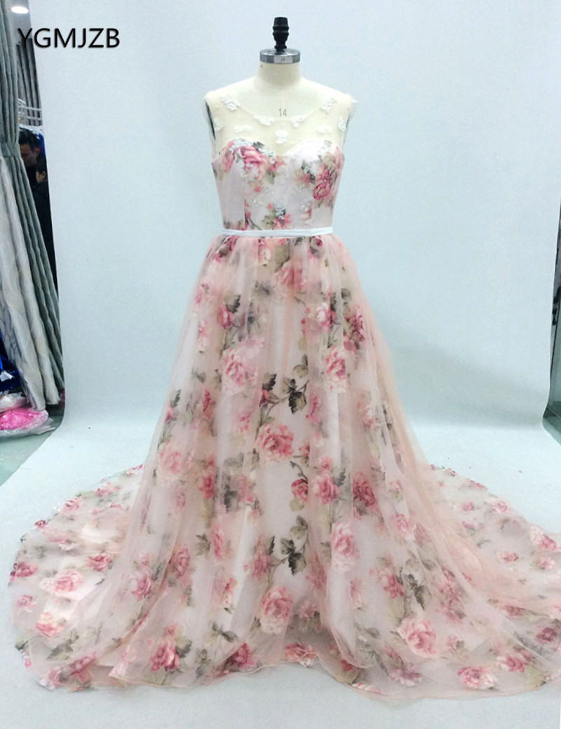 Floral Print Ball Gown Prom Dress 2018 Plus Size Beading Embroidery ...