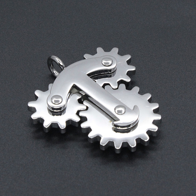 PeNeede Stainless Steel Gear Spinner Pendant/ Keychain Hand Fidget Toy School/Office Autism/ADD/ADHD/Anxiety EDC Anti Stress Toy(China)