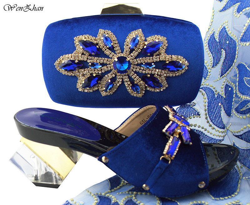 Latest Design Ladies Italian Shoes and Bag Set Decorated with Crystal Royal Blue Nigerian Wedding Shoes and Bag Set B89-22Latest Design Ladies Italian Shoes and Bag Set Decorated with Crystal Royal Blue Nigerian Wedding Shoes and Bag Set B89-22