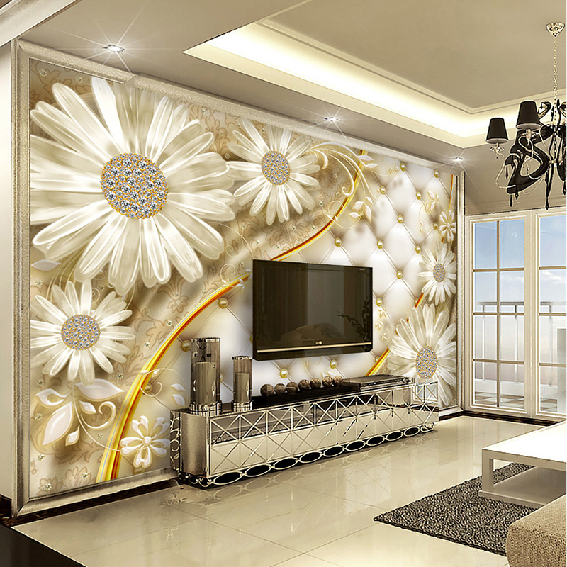 European Style 3D Relief Transparent Flower Luxury Jewelry Photo Mural Wallpaper High Quality Living Room Backdrop Wall Paper 3D custom 3d mural wallpaper european style painting stereoscopic relief jade living room tv backdrop bedroom photo wall paper 3d