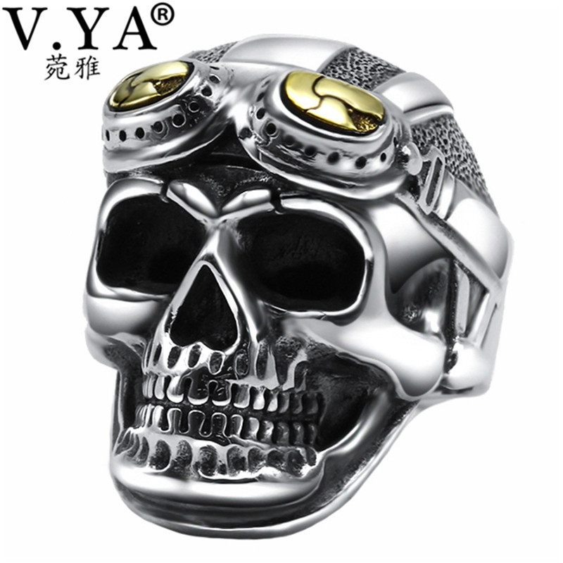 V.YA Vintage 925 Sterling Silver Skeleton Skull Ring for Men Male Retro Thailand Thai Silver Jewelry Anillos Top Quality vintage skeleton skull king 925 sterling silver men ring