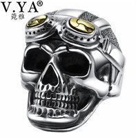 V.YA Vintage 925 Sterling Silver Skeleton Skull Ring for Men Male Retro Thailand Thai Silver Jewelry Anillos Top Quality