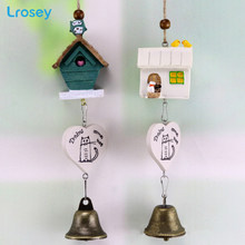 Creative home decoration accessories resin house bird wind chime Owl bell decoration gift student gift Statues Sculptures(China)