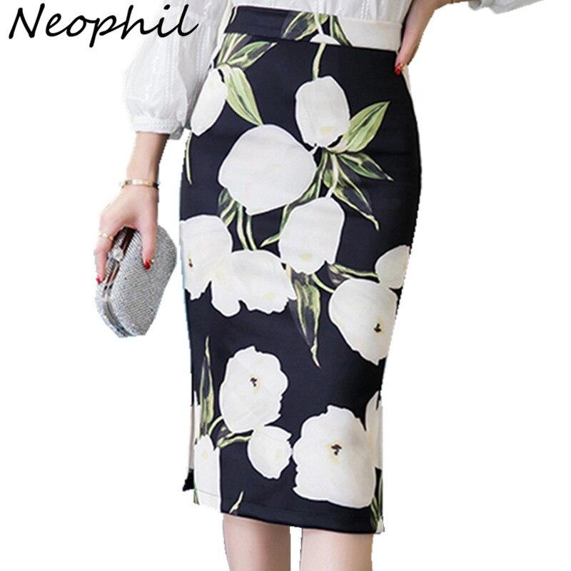 Neophil 2016 Fall Plus Size XXXL Elegant Flower Floral Print Sexy Pencil Midi Skirts Women High