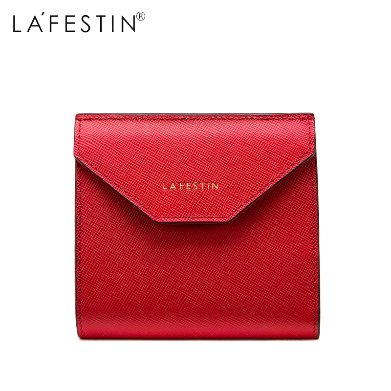 LAFESTIN Solid Genuine Leather Women Mini Wallet Leather Coin Purse Coin Credit Card Holder Zipper Women's Wallet new lady women leather wallet zipper mini purse credit card holder bags simple style handbag party as gift high quality 52