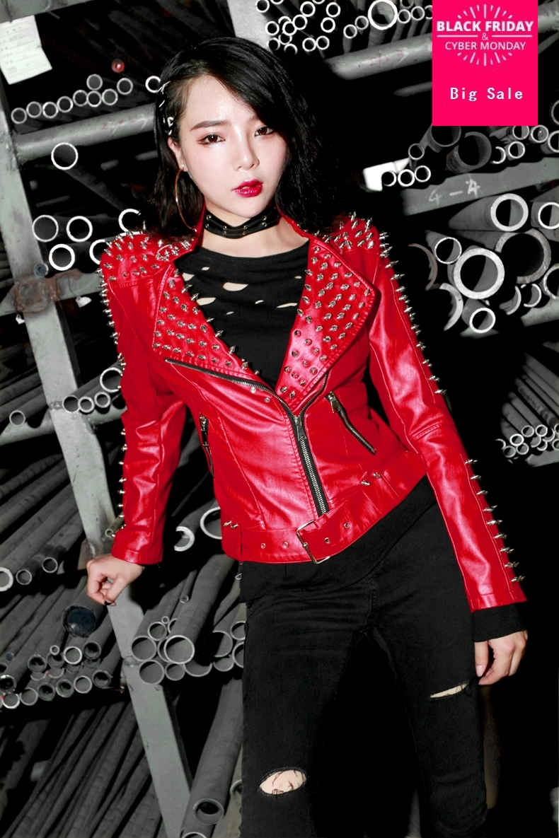 Autumn and winter female Korean version was thin with Rivet pu   leather   wash   leather   coat V neck motorcycle jacket wj1694