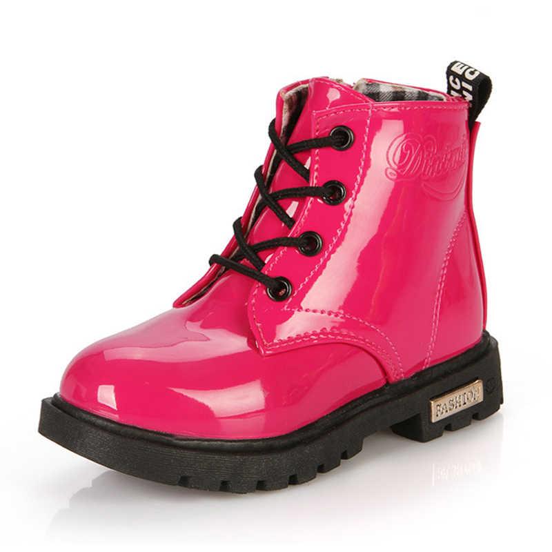 SKOEX ילד של הילדה של עמיד למים שרוכים מרטין מגפי סתיו חורף ילדי צד רוכסן אמצע עגל מגפי עור מפוצל נעליים (תינוק)