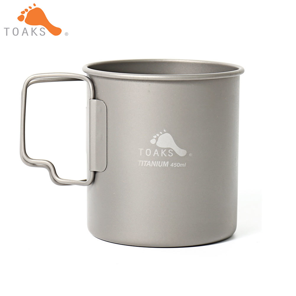 TOAKS CUP-450 Pure Titanium Cup Ultralight Outdoor Mug without Lid and Foldable Handle Camping Tableware 450ml 60g cup