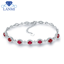 Luxury Design Real Solid 18K White Gold Loving Natural Ruby Bracelet Diamond Engagement Jewelry Genuine Gem for Women Birthday