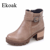 Size 34 43 New 2016 Fashion Martin Boots Winter Women Leather Motorcycle Boots Casual Round Toe