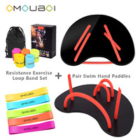 OMOUBOI Body Building Device Dive Swim Training Hand Flippers Water Stroke Exercise Hand Fins W/Exercise Loop Band 5 Colors Set
