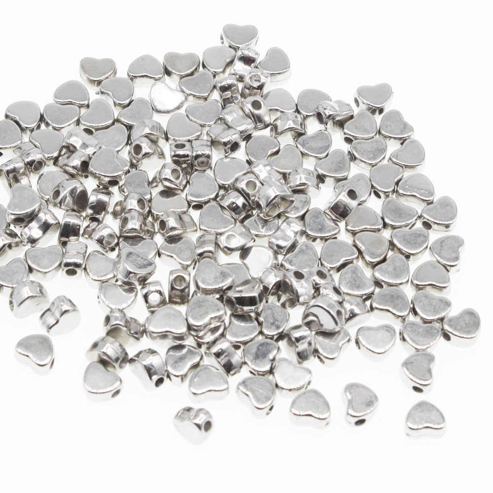 CHONGAI  300Pcs Love Heart Gold Silver CCB Loose Spacer Beads For Jewelry Making DIY Necklace Bracelet 6x7mm