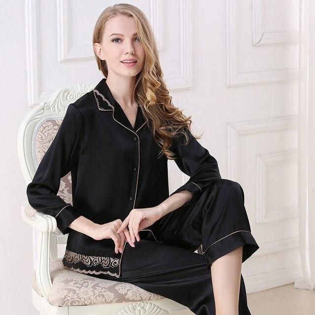 f1860fc8b2046a Czarny 100% jedwabiu sexy piżamy damskie eleganckie piżamy ustawia kobiety  elegancki sexy koronki projekt kobiety