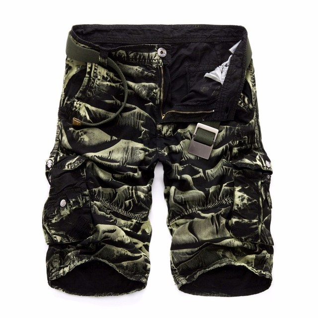 Summer Men's Camo Cargo Shorts Cotton Military Camouflage Male Jogger Board Shorts Fashion Breathable Business Short DA023